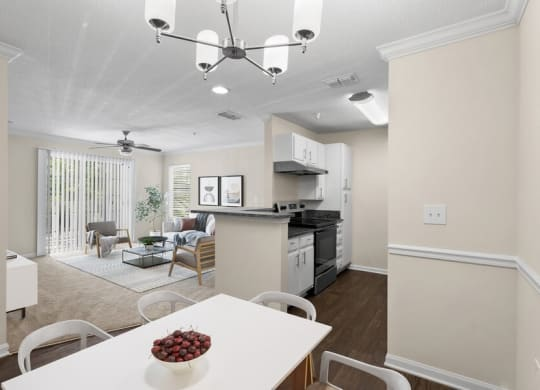 Model dining and kitchen area