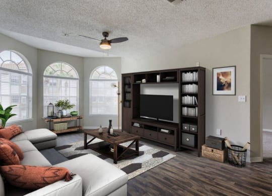 Model living room with large windows