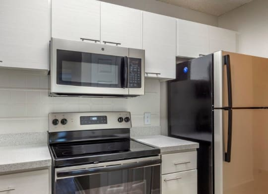 Model kitchen with stainless steel appliances