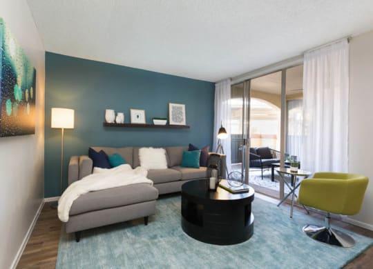 Model living room with sliding door
