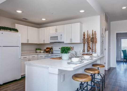 Fully Equipped Kitchen With Island at Aviator at Brooks Apartments, Clear Property Management, Texas, 78235