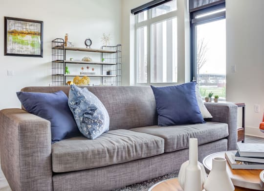 Sofa in living room at Central Park West, Minnesota, 55416
