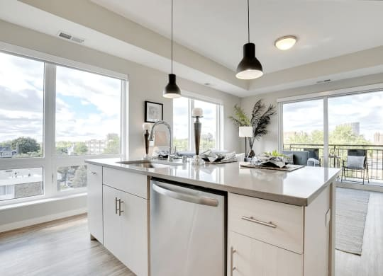 Corner Unit with Large Windows, Natural Light and Large Kitchen Island at The Whit, Minneapolis, Minnesota