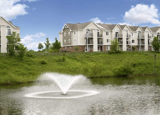Pond with Fountain at Autumn Lakes Apartments and Townhomes, Indiana
