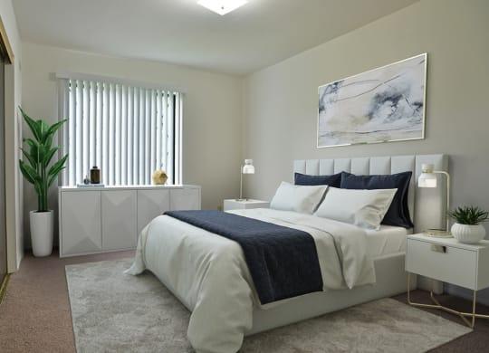 Bedroom With Expansive Windows at Charter Oaks Apartments, Davison, MI