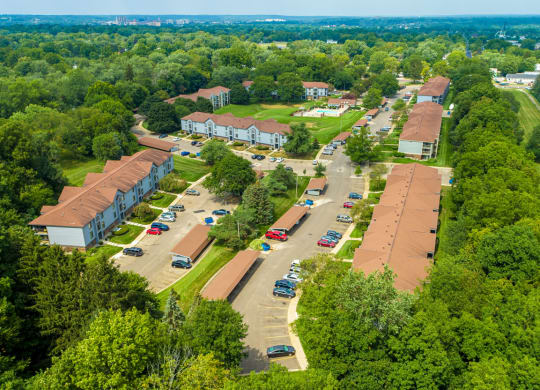 Aerial Community View at Emerald Park Apartments in Kalamazoo, MI