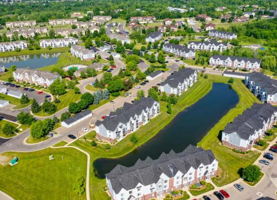 Aerial Community View at Heatherwood Apartments in Grand Blanc, MI