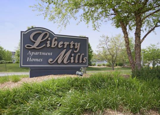 Welcoming Property Signage at Liberty Mills Apartments, Fort Wayne