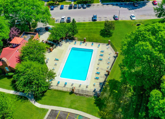 Pool Overhead View at Old Farm Apartments, Elkhart
