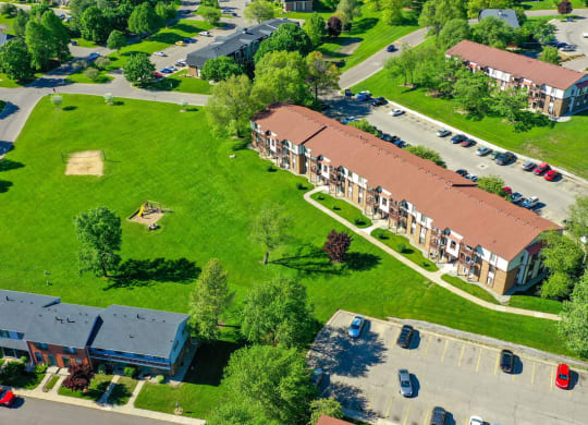 Courtyard Aerial View at Seville Apartments, Michigan