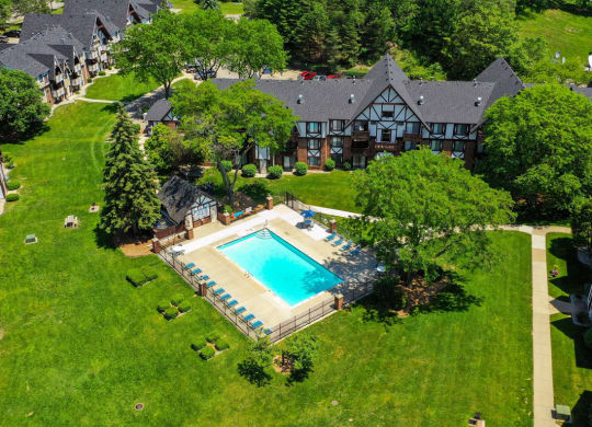 Aerial Swimming Pool View at Swiss Valley Apartments, Wyoming, Michigan