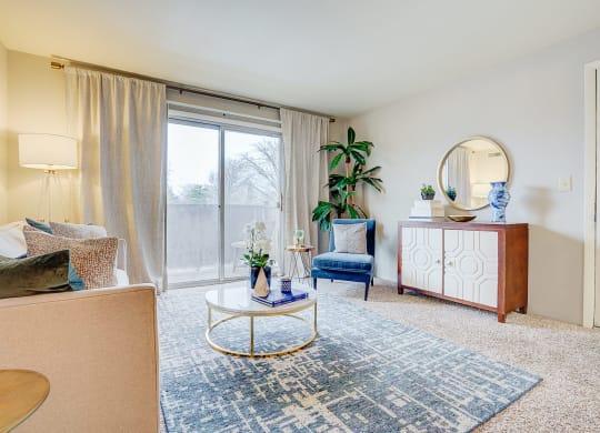 Bright Living Room at Scarborough Lake Apartments, Indianapolis