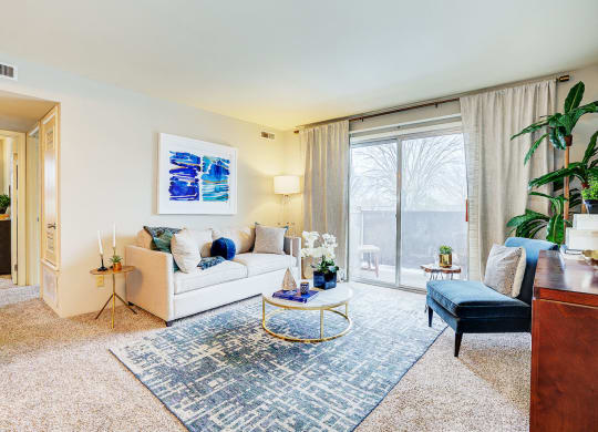 Comfortable Living Room at Scarborough Lake Apartments, Indiana