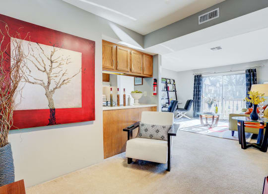 Bright Living Room at Autumn Woods Apartments, Miamisburg, OH, 45342