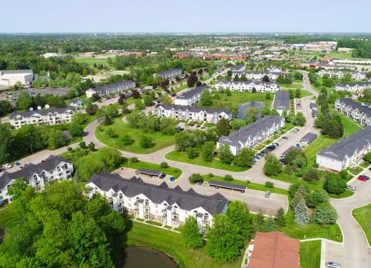 Aerial Community View at The Crossings Apartments, Michigan, 49508
