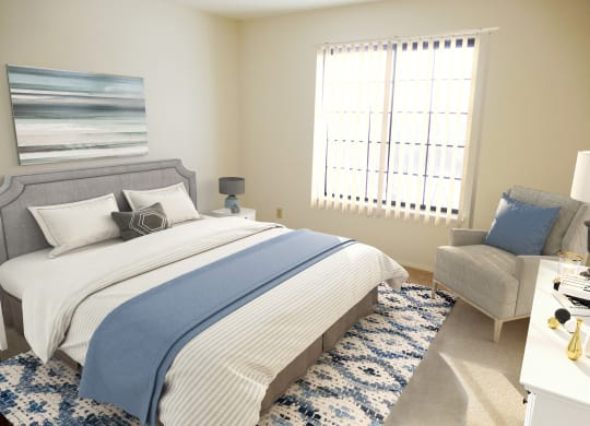 Model Bedroom of One Bedroom Mulberry Apartment at Tanglewood Apartments, Wisconsin