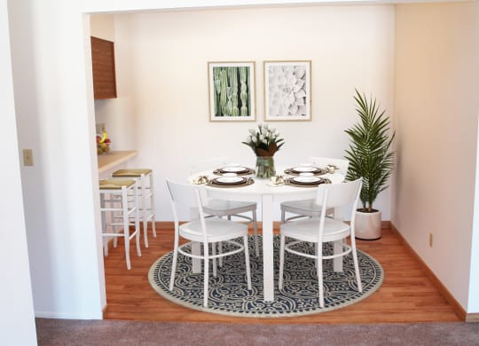 Dining Room Space in One Bedroom Mulberry Apartment, at Tanglewood Apartments, Oak Creek, WI