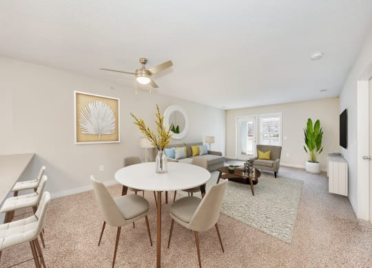 Living and Dining Room at WaterFront Apartments, Virginia Beach, VA