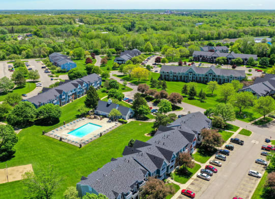 Ariel View Of Park Like Grounds at Walnut Trail Apartments, Michigan, 49002
