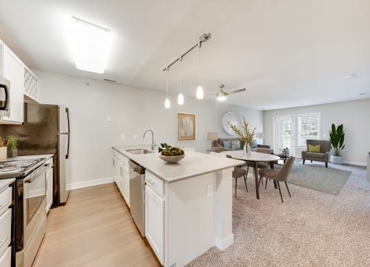 Galley Style Kitchen with Living Room View at Waterfront Apartments, Virginia Beach
