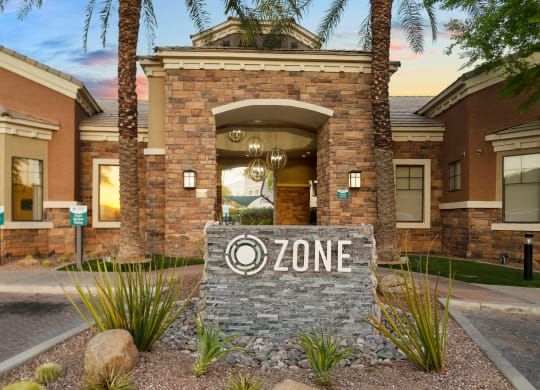 Zone Apartments Glendale, AZ Monument Sign Outside of Leasing Office