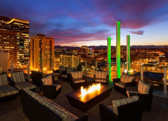 Rooftop Lounge With Fireplace at 2020 Lawrence, DENVER, Colorado