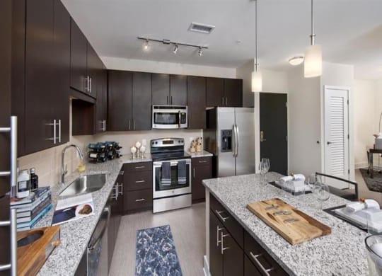 Kitchen with stainless steel appliances at Berkshire Terminus, Atlanta, GA, 30305