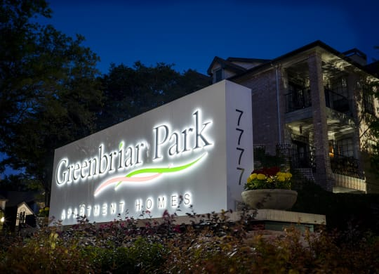 Welcoming Property Signage at Greenbriar Park, Houston