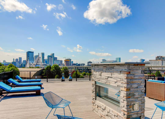 Charlestown MA Apartments with Rooftop Fireside Lounge featuring fantastic views of Boston