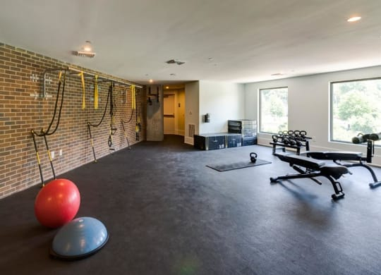 fitness center with free weights at Berkshire Dilworth, Charlotte, North Carolina