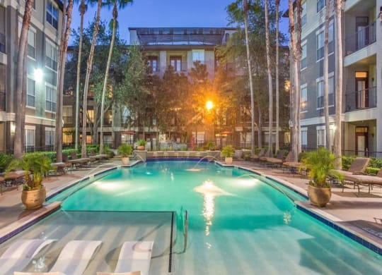 Resort Style Pool at The Plaza Museum District, Houston, Texas