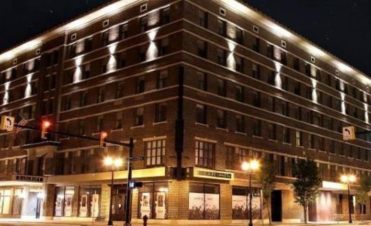 Bancroft Building, night time, lights