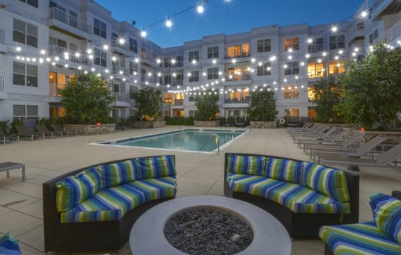 Swimming Pool area Night Time | 75 Tresser Stamford CT