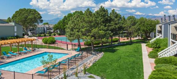 Aerial View Of Pool at The Glen at Briargate, Colorado, 80920