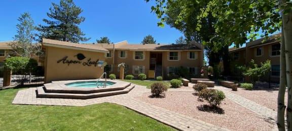 Hot tub at Aspen Leaf Apartments in Flagstaff Arizona July 2020