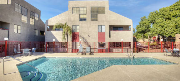 Pool and pool patio at Nine90 Apartments in Tucson AZ November 2020