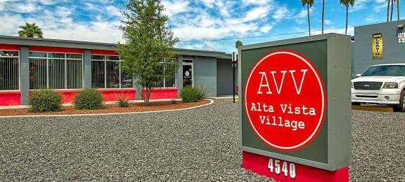 Signage at Alta Vista Village Apartments in Tucson AZ August 2020