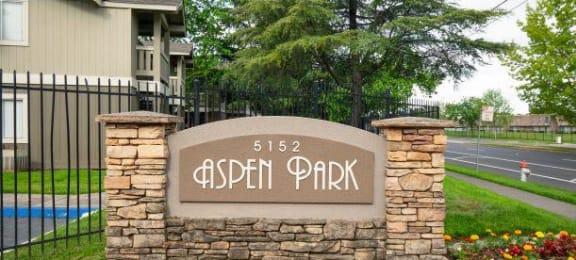 Welcoming Property Signage at Aspen Park Apartments, Sacramento, CA, 95823