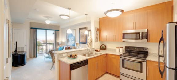 Kitchen with stainless steel appliances; open to living room; sliding door to exterior