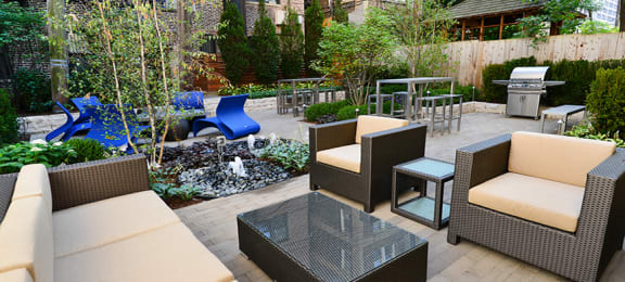 Patio Area at Reside at Belmont Harbor, Chicago, IL,60657
