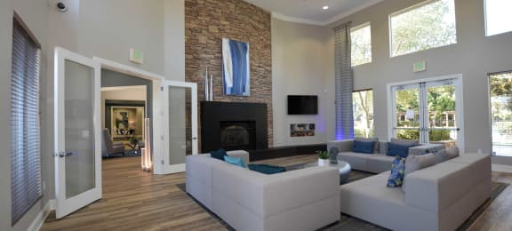 community lounge room with fireplace