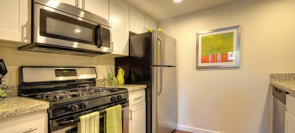 Kitchen Stove with Refrigerator, Hardwood Inspired Floor  and Microwave