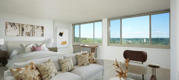 Spacious studio with lots of natural sunlight at The Aspen Apartments in Alexandria, VA