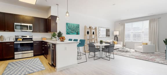 virtually staged living room and kitchen