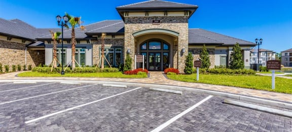 parking lot and outside of clubhouse