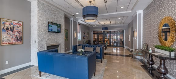 Stunning expansive building entrance lobby.at Renaissance at the Power Building, Cincinnati, OH