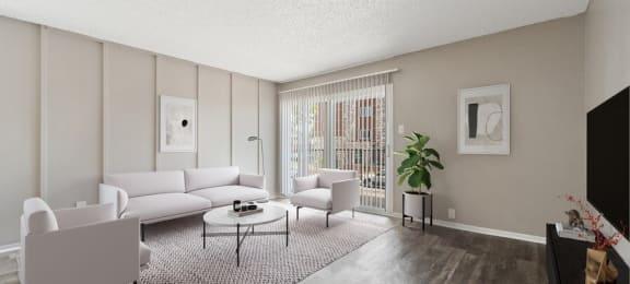 Model living room and patio door