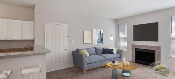 Furnished model living room next to kitchen