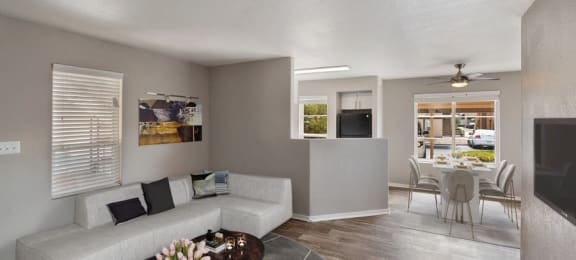 Model living room and dining room