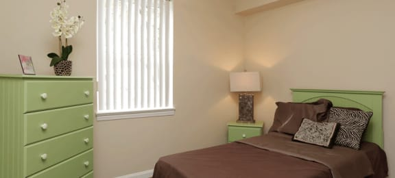 Brown bedspread with green accents